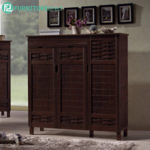 TAD MEHAK 3 door shoe rack cabinet with 1 drawer storage - wenge