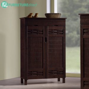 TAD MEHAK 2 door shoe rack cabinet with 1 drawer storage - wenge