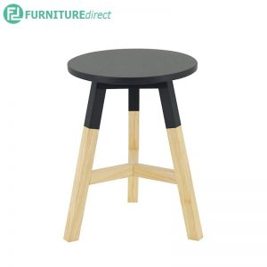 REBA solid rubberwood stool - Graphite Grey and White