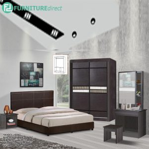 TAD 2502 JORDAN 5 pieces queen bedroom set furniture set - queen size - wenge