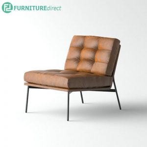 SATAH cow split leather designer arm chair- Hazelnut Brown