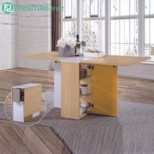 BANANA LEAF Dining Table - Open to Close more space L116cm - Solid Rubberwood