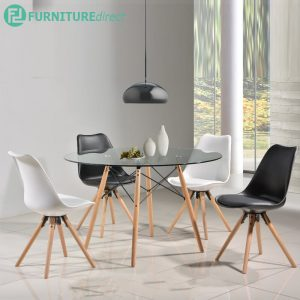 BERTIE 4 seater glasstop dining set