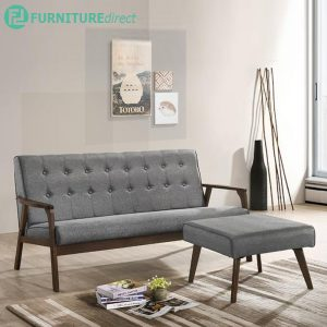 BRENT solid wood 3 seater sofa with stool-GREY