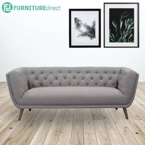 CONNER 3 seater fabric sofa with solid wood legs- grey