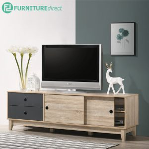 DENVER 6 feet TV cabinet with sliding door-oak