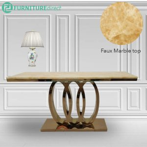 JTDT-24 150x40cm faux marble top console table with gold chrome leg