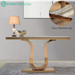 JTDT-25 150x40cm faux marble top console table with gold chrome leg