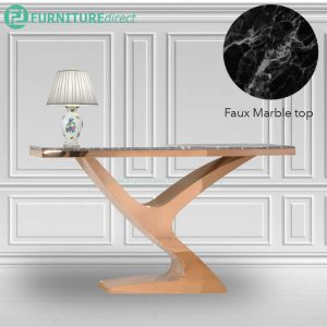 JTDT-26 150x45cm faux marble top console table with gold chrome leg
