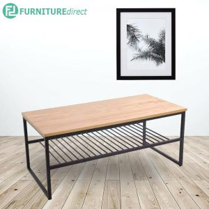 KORBAN 100x50cm metal shelf coffee table-Oak & Walnut