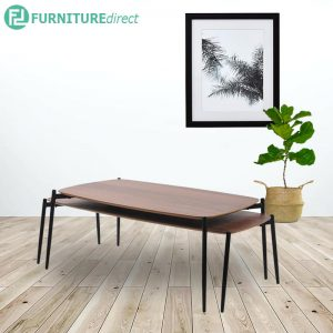 LUCI nest of tables set-Oak veneer & walnut veneer