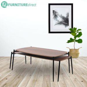 LUCI nest of tables set-Oak veneer & walnut veneer