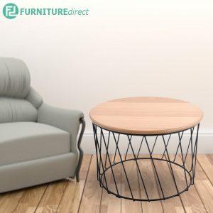 NELLY D60cm metal base coffee table in oak veneer