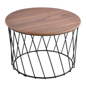NELLY D60cm metal base coffee table in walnut veneer