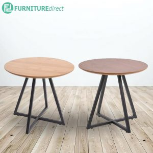 NARTAN D50cm metal frame side table- oak and walnut