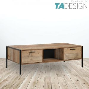 UTAH industrial design 4ft coffee table with 2 drawers