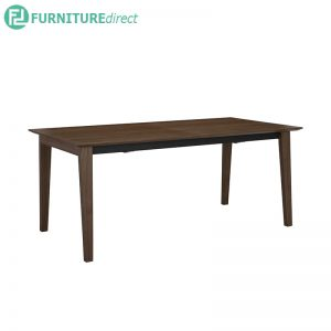 MANTON Dining table with Extendable Table - Full Solid Rubberwood - Walnut