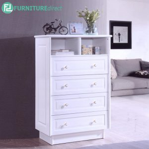 CANDICE L80.5cm Sideboard Filling Cabinet - Solid Rubberwood - Thick Table Top - White
