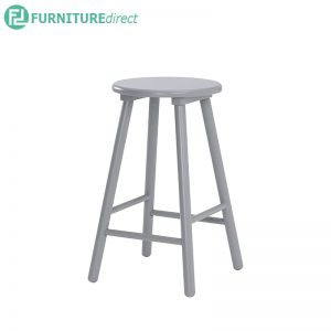 OLINA Bar Stool (Height 60cm) - White, Light Blue and Light Grey - Particle board