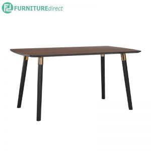 JAZZ Dining table - Solid Rubberwood - Walnut and Black Leg with copper plated leg cap