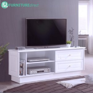 CANDICE 5FT TV CABINET - Solid Rubberwood - Thick Table Top - White