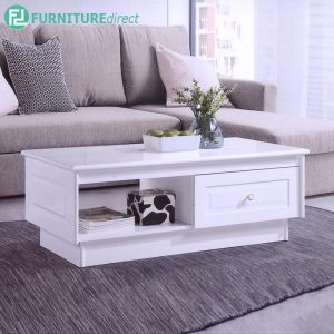 CANDICE COFFEE TABLE - Solid Rubberwood - Thick Table Top - White