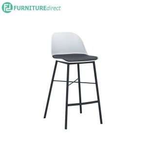 Laxmi counter chair (Bar Stool) with low back - Black, Grey and White (Battleship Grey colour cushion)