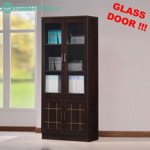 [CLEARANCE] TAD CASEY 2 door book cabinet with glass door - Wenge