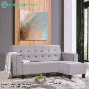 DENIZ 3 seater fabric L shaped sofa with stool