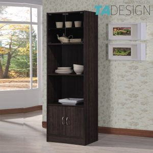 TAD CASEY 2 door book cabinet with glass door - Wenge
