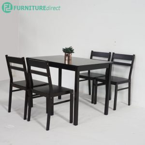HIRA 4 seater solid wood dining set-Black