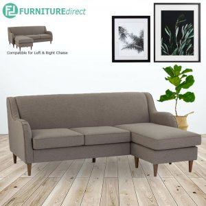 LUCIE 3 seater L shaped fabric sofa-light brown