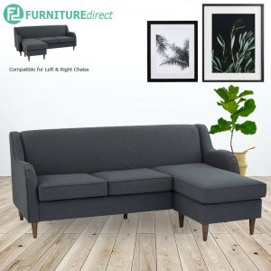 LUCIE 3 seater L shaped fabric sofa-Dark grey