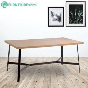 SONNY 180x90cm industrial style metal dining table in oak veneer top