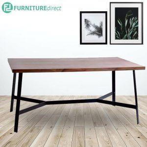 SONNY 180x90cm industrial style metal dining table in walnut veneer top