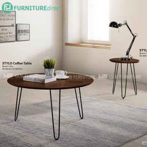 STYLO industrial style coffee table and side table set-brown