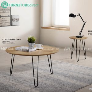 STYLO industrial style coffee table and side table set-natural