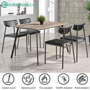Sapphire industrial scratch proof table top 4 seater dining set