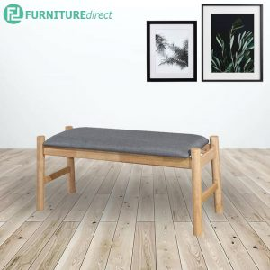 TOTEM 100cm solid wood bench with fabric cushion seat