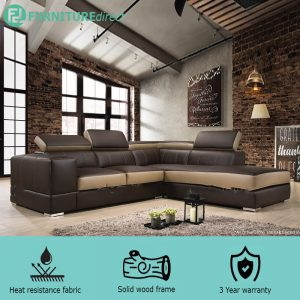 VIENNA PU L shaped sofa with recline head rest