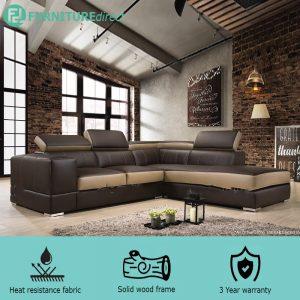 VIENNA PU L shaped sofa with recline head rest