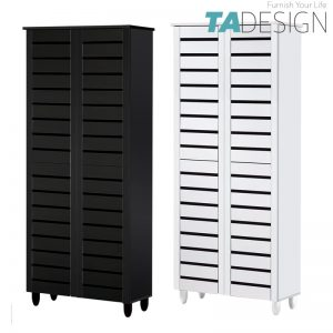 TAD BELLA 4 Door high wooden shoe rack cabinet-White