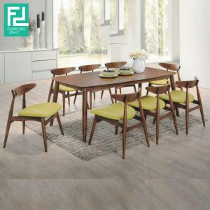 Clearance- MANCHESTER 6 seater dining set- green seat (1 set only)
