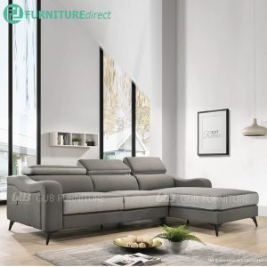 Lazio L shaped 3 seater fabric sofa-grey