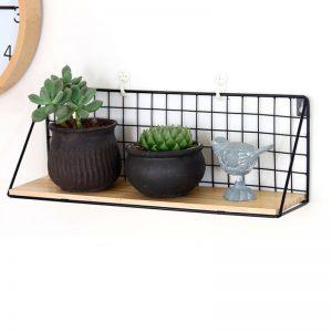 887498 Zen style solid pine wood with metal frame display storage shelf