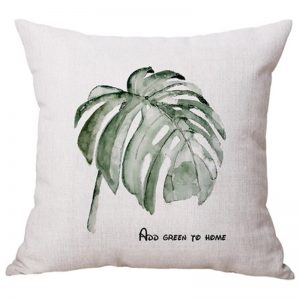 Tropical plants 45x45cm line fabric cushion pillow-Philodendron