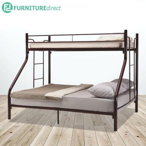 WESTON trio single over queen heavy duty metal bunk bed