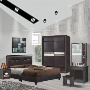 TAD 1502 OMAN 5 pieces queen bedroom set furniture set - queen size (wenge)