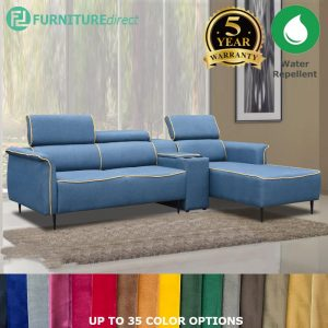 Custom Made- RO005 ALEXA 3 seater L shaped water repellent sofa with multi purpose arm rest