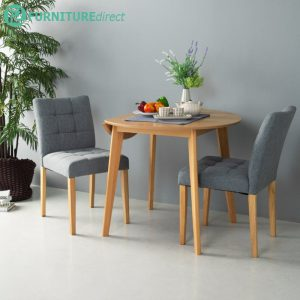 OVEN 2 seater round drop left extension dining set